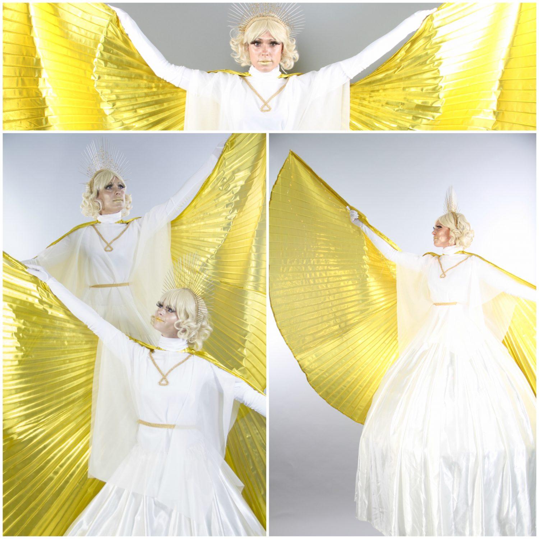 Spectaculaire act met gouden engelen. Verzorgt promotie, decoreert festival of feest